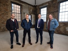 Tom Watson from Wykeland Beal, second from right, with J. Johnson owners, from left, Chris Eastaugh, Jason Gittens and Dan Robinson in the former fruit and veg warehouse in Humber Street.