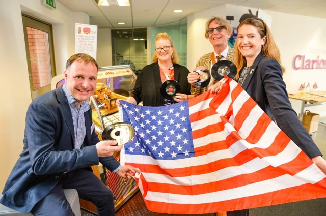 Chris Black of Sound Leisure; Kirsten Chambers, Consul and Head of Trade & Investment at the British Consulate General; Mike Pickles, founder and CEO of Really Useful Products; and Harriet Cross, the British Government's Consul General to New England