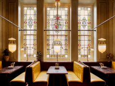 Detail of the Bro. Cursetjee Dining Hall at Dishoom Manchester designed by Macaulay Sinclair (credit John Carey)