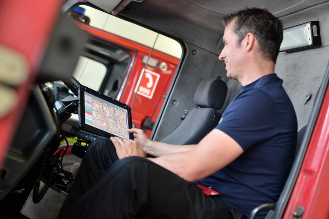 A Fire Officer uses cutting-edge software developed by Seed Software for Fire and Rescue services across the UK.