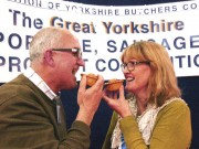 Tom Martin and wife Anne-Marie celebrate winning the Yorkshire Pork Pie, small pie category at the annual awards in 2015