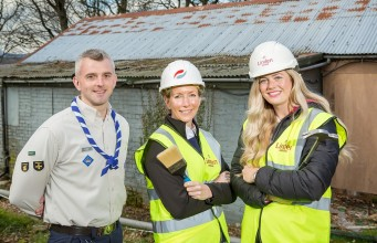 Scout Leader James Heron is joined by members of the restoration dream team, Galliford Try's Steph Douglass and Linden Homes' Abi Reid.