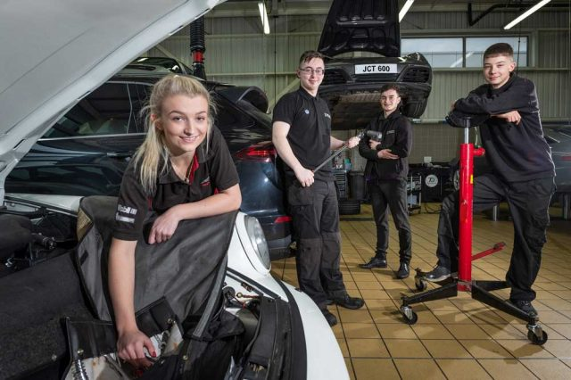 JCT600 apprentices Jessica Suffield, Conor Asquith-Smith Oliver Mouatt and Patrick Wall