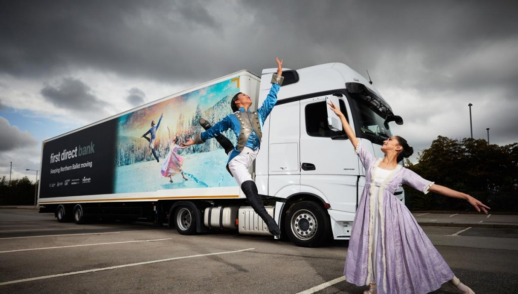 Matthew Koon & Rachael Gillespie with Northern Ballet first direct lorry