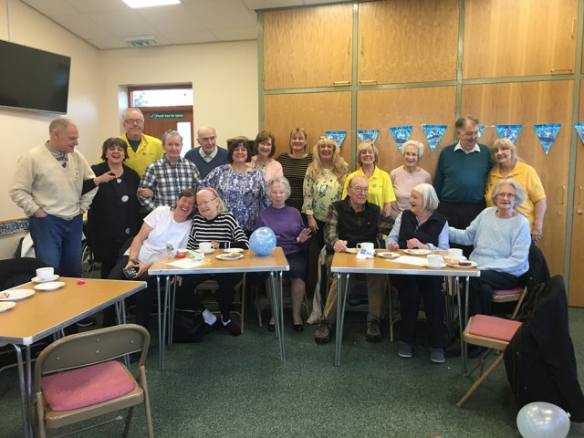 New Patron, Sue Sweeney (back row, fifth from right), at a Silverline Memories dementia café