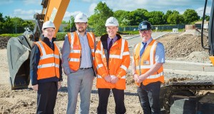 Pictured at the Peterlee site are (left to right): Graham Wood, Economic Development Manager at Durham County Council; Cllr. Carl Marshall; Ian Prescott and Rob Rudd, Keepmoat Senior Site Manager