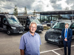 Open and shut case: Alexander Windows' Steve Wood is pictured, left, with Joe Heath, of Mercedes-Benz Vans of Stockport, and three of the new vehicles