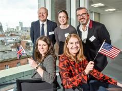 Tom Bridges, Leeds City Council; Chloë Ellis, RSM; Sean Jarvis, Huddersfield Town Football Club. Front, from left: Sarah Delude, City of Boston; Harriet Cross, British Consul General, New England